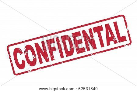 Stamp Confidential With Red Text On White