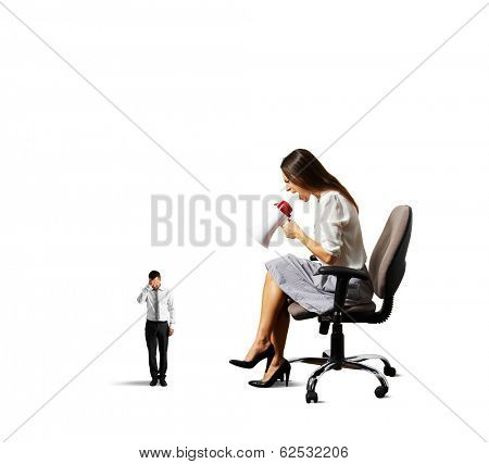 dissatisfied woman screaming at small tired man. isolated on white background