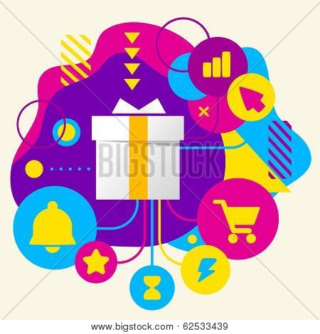 Gift Box On Abstract Colorful Spotted Background With Different Icons And Elements