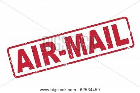 Stamp Air-mail With Red Text On White