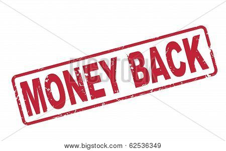 Stamp Money Back With Red Text On White