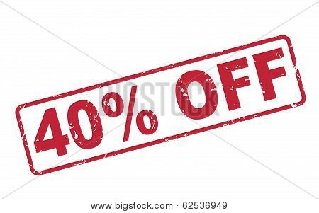 Stamp 40 Percent Off With Red Text On White