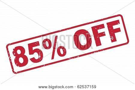 Stamp 85 Percent Off With Red Text On White