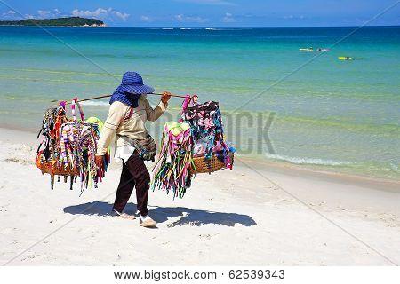 Thai Woman Selling Beachwear At Beach In Koh Samui, Thailand.