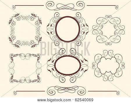 Set Of  Calligraphic Floral Design Elements. Vector Illustration.