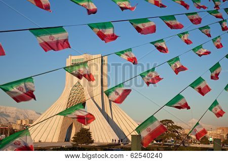 Azadi Monument And Celebration Iran Flags In Tehran