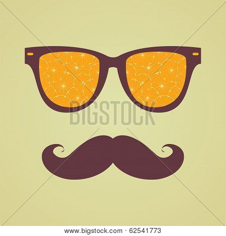 Vintage Hipster Background. Sunglasses Reflection Orange