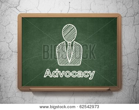 Law concept: Business Man and Advocacy on chalkboard background