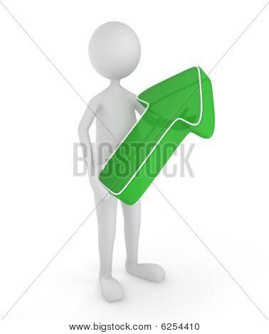 3D Up Green Arrow