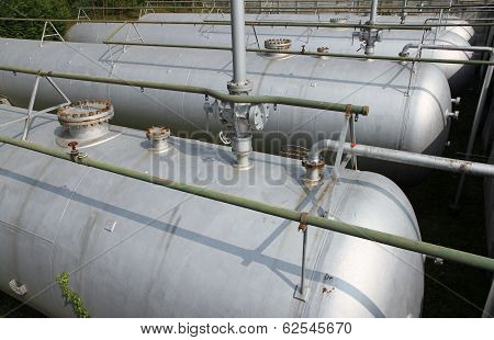 Gray Tanks And Huge Cistern The Storage Of Gas And Liquids