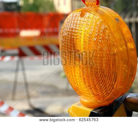 Orange Lit The Lamp For The Roadworks