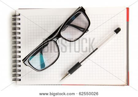 Black men glasses and pen on blocknote