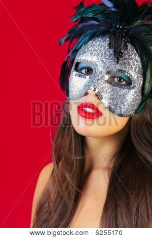 Masquerade Mask Red Background
