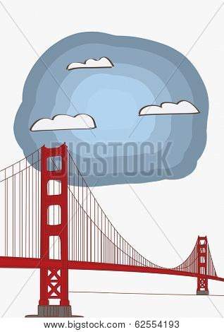 Vector Illustration of the Golden Gate Bridge for magazine or newspaper