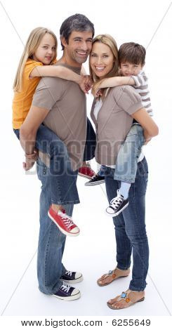 Family Giving Children Piggyback Ride