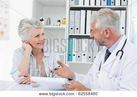 Female senior patient visiting a doctor at the medical office