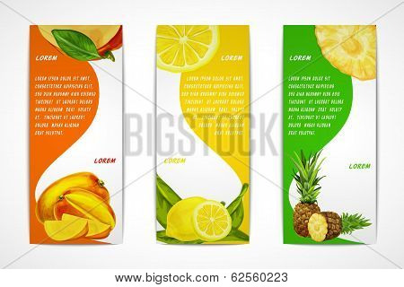 Tropical fruits vertical banner set