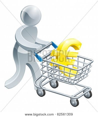 Person Pushing Trolley With Euro Sign