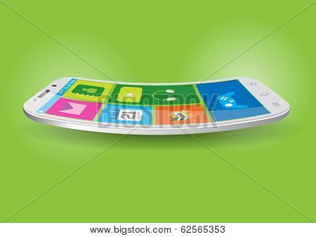 Modern Touchscreen Curved Mobile Vector Illustration