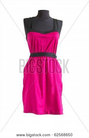 Pink Sundress With Black Belt On A Mannequin