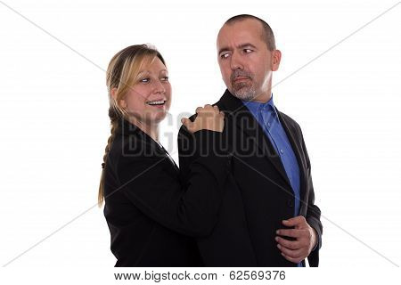 Woman Touching Man