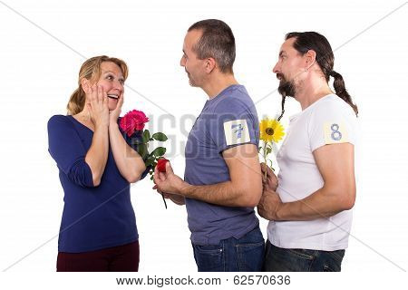Female With Admirers