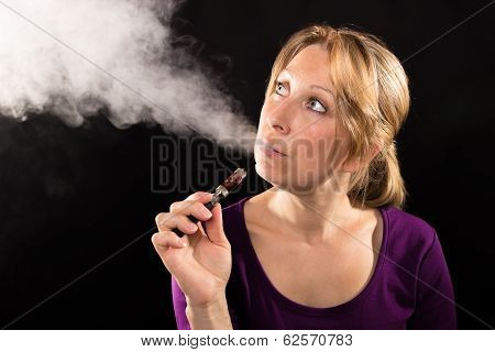 Woman Vaping Electronic Cigarette