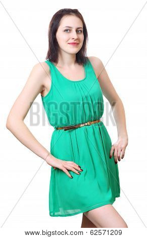 Caucasian Girl 18 Years Old In Short Green Dress.