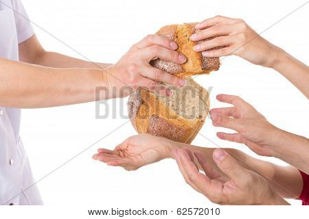 Hands Grabbing For Bread