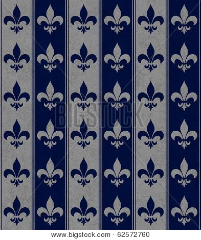 Navy Blue And Gray Fleur De Lis Textured Fabric Background