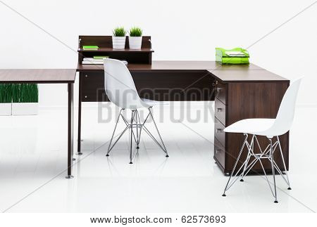 tables and plastic chairs on white background