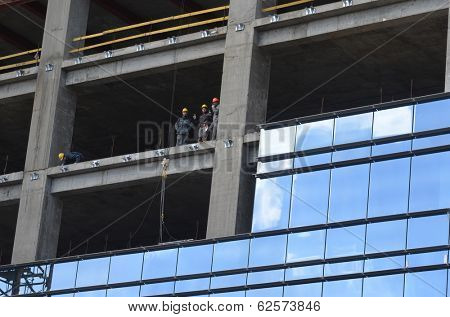 KIEV, UKRAINE -APR 2, 2014: Downtown of Kiev.Building construction of huge office centre..April 2, 2014 Kiev, Ukraine