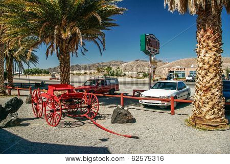 SHOSHONE, USA - 10 MAY, 2007: Square in front of the restaurant in Shoshone village. Since the early 1900s Shoshone Village has been a base camp for visitors exploring the Death Valley National Park