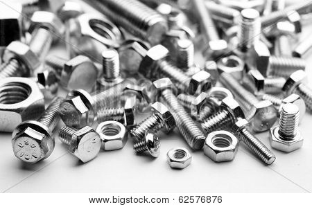 metal bolts and nuts of various types,