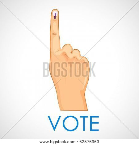illustration of hand with voting sign of India