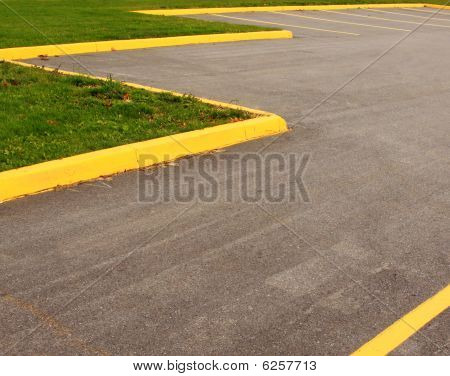 Parking Lot Yellow Striping Grass