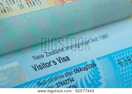 Passport Stamp Visa For Travel Concept Background, New Zealand