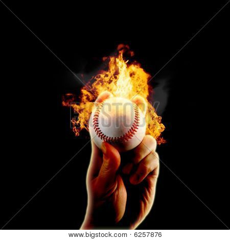 Baseball Flames Fire Hand