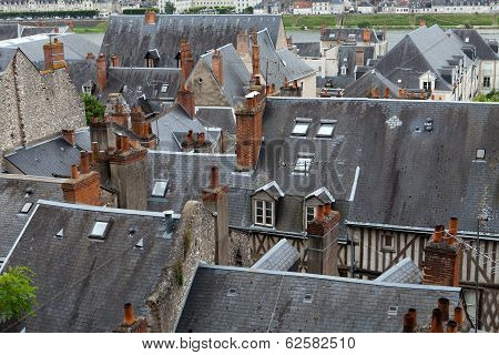 Roofs of Blois town Loire valley France