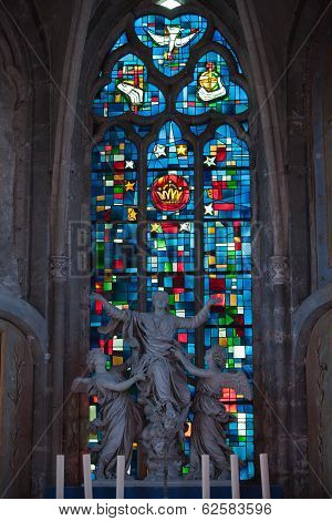 Stained glass windows of Saint Gatien cathedral in Blois. France