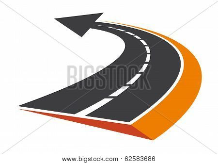 Curved tarred road with an arrow pointer