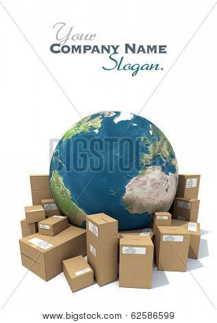 3D rendering of the Earth and a heap of cardboard boxes. The map texture comes from the Nasa free of use images