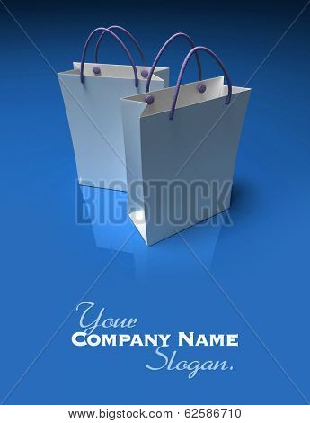 3D rendering of a pair of high quality white shopping bags against a shinny blue background