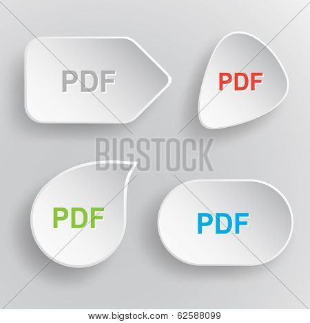 Pdf. White flat raster buttons on gray background.