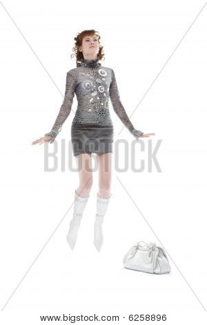 Picture Of Attractive Woman With Shopping Bag