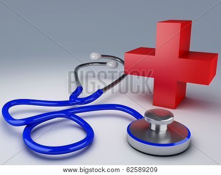 Stethoscope and red cross