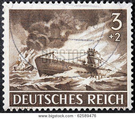 German Submarine Stamp
