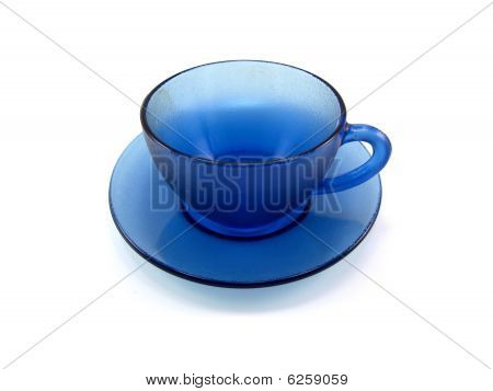 Dark Blue Glass Cup And Saucer