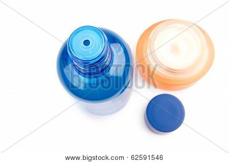 Aftershave Blue Tube And Cream Isolated On White