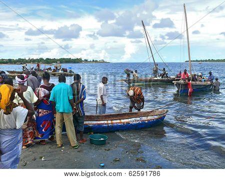 Mtwara, Tanzania - December 3, 2008: The Fish Market.